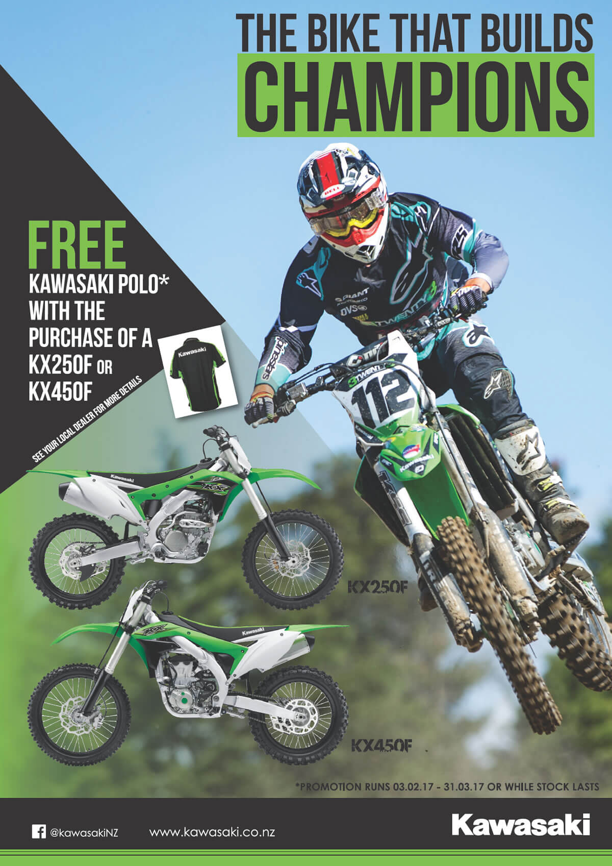 Free Kawasaki Polo with KX250F or KX450F