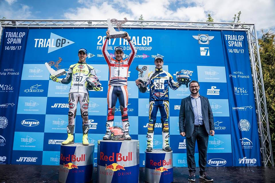 Albert Cabestany on the podium for the first GP Trial of the year 1